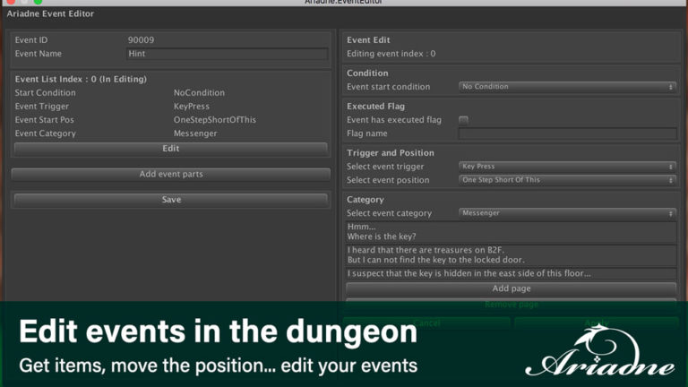 Edit events in the dungeon